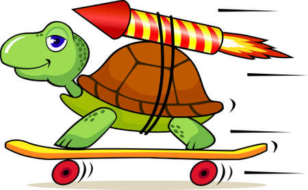 turtle isolated: Turtle with rocket to increase speed Illustration
