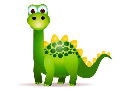 Dino vert cute cartoon  Vecteurs