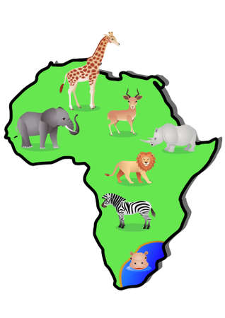 Animal Africa Map Vector