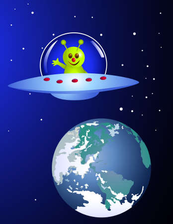 cartoon alien: Alien visiting earth