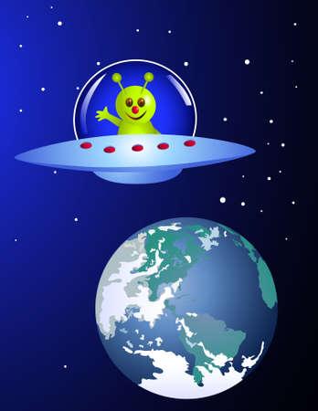 Alien visiting earth Stock Vector - 6898625