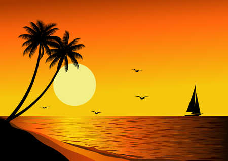 sea scenery: Beautiful sunset Illustration
