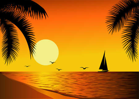 22211 Beach Sunset Stock Illustrations Cliparts And Royalty Free