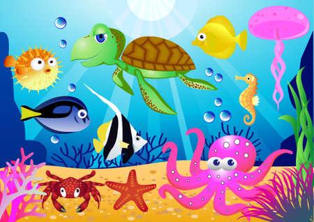 algas marinas: Caricatura de vida marina Vectores