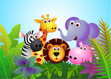 illustration zoo: Cartoon animale  Vettoriali
