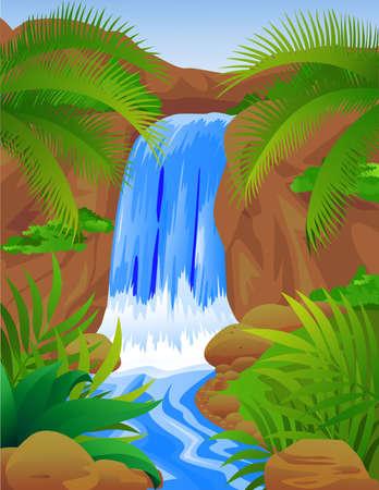 river rock: Beautiful waterfall