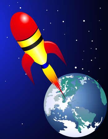 space wars: A space craft transportation Illustration