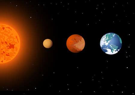 mercury: Sun, Mercury, Venus and Earth Illustration