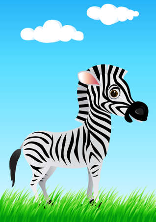 Zebra cartoon in the wild Vector