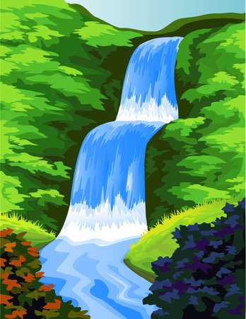 Bella cascada  Ilustración de vector
