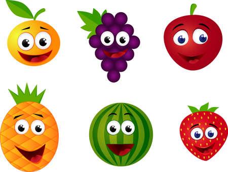 frutas divertidas: Caricatura de frutas  Vectores