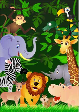 selva caricatura: Animales de la selva  Vectores