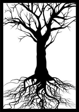 Tree silhouette frame Vector
