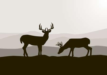 deer silhouette: Deer silhouette
