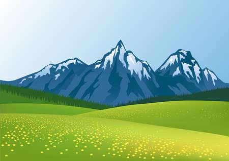 prato montagna: Bella montagna sfondo  Vettoriali