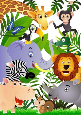 cebra: Dibujos animados animales  Vectores