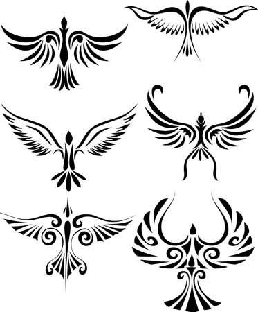 tatouage oiseau: Tatouage tribal oiseaux