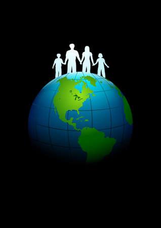 royalty free: Famiglia sulla terra