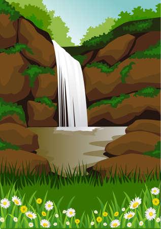 river rock: cascata Vettoriali