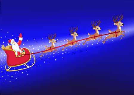 Santas sled Vector