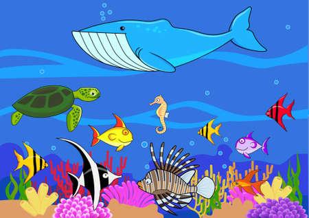 ballena: Dibujos animados de vida de mar