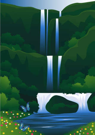 waterfall: beautiful waterfall Illustration