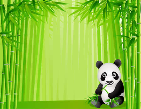 Cute panda in the bamboo forest Vector