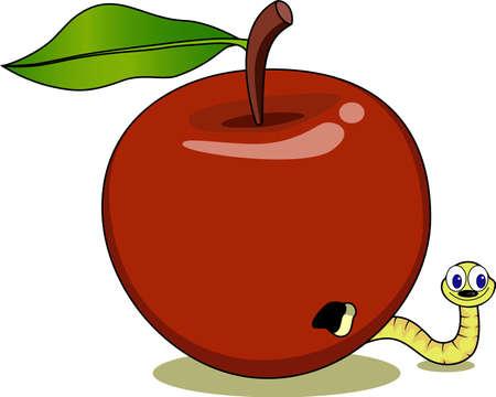 frutas divertidas: Gusanos y manzana roja Vectores