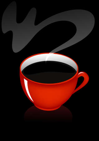 Black coffee in the red mug illustration Vector