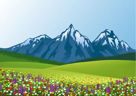 mountain meadow: Fondo de verano de la naturaleza Vectores