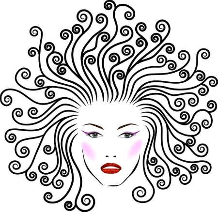 hair stylist: Stylized beautiful girl Illustration