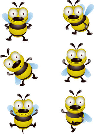 Cute bee collection Vector