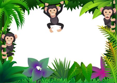 chimpanzee in the jungle Stock Vector - 8557740