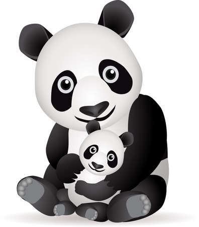 Panda family Vector