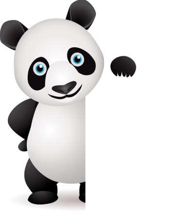 panda: Cute panda and blank white space Illustration
