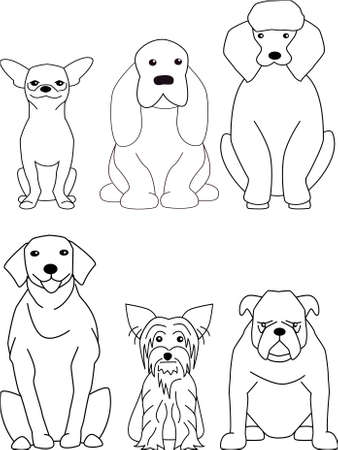 black and white line drawing: dog cartoon