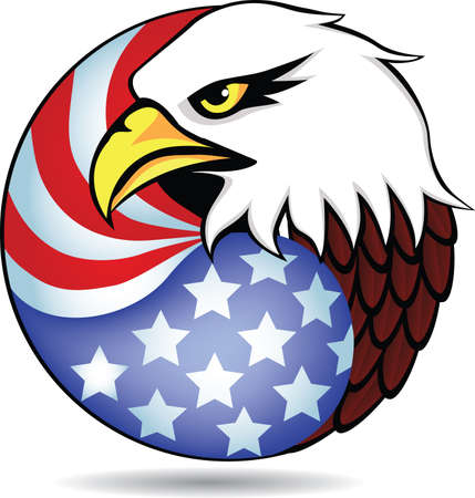decal: Eagle had and flag of America