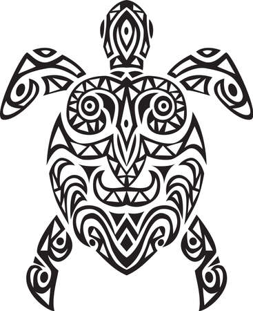 turtle art tattoo Vector