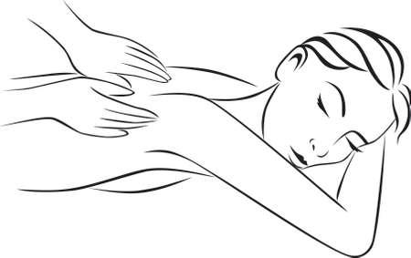 massage: Spa und Massage-Behandlung Illustration