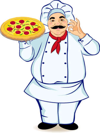 italia: A chef and pizza Illustration