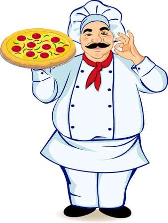 cocinero italiano: Un cocinero y pizza Vectores