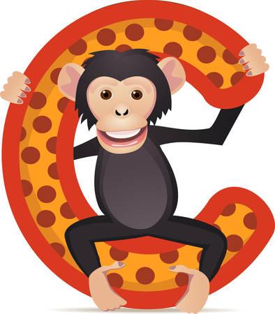 orangutang:  alphabet C with Chimpanzee cartoon