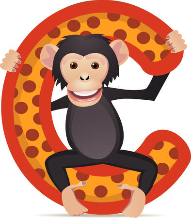 apes:  alphabet C with Chimpanzee cartoon