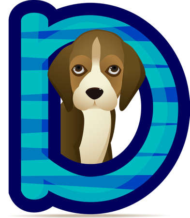 l alphabet  D with Dog cartoon Vector