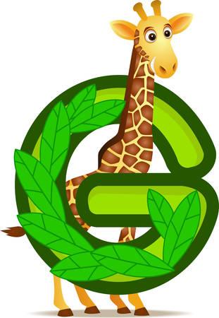 alphabet G with Giraffe cartoon Vector