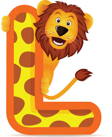 l: alphabet L with Lion cartoon Illustration