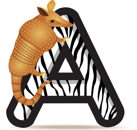 Alphabet A with Armadillo cartoon