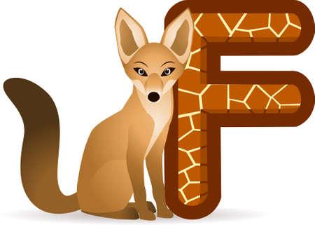 Alphabet F with fox cartoon Vector