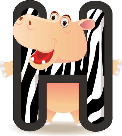 hipopotamo caricatura: Alfabeto h con dibujos animados de Hipona Vectores