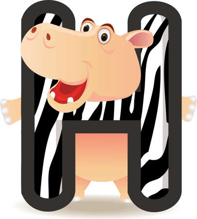 Alphabet H with Hippo cartoon Vector